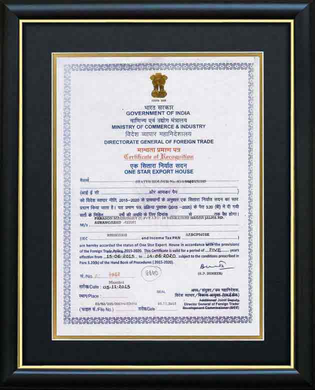 General Foren Trade Certificate Parason Machinery