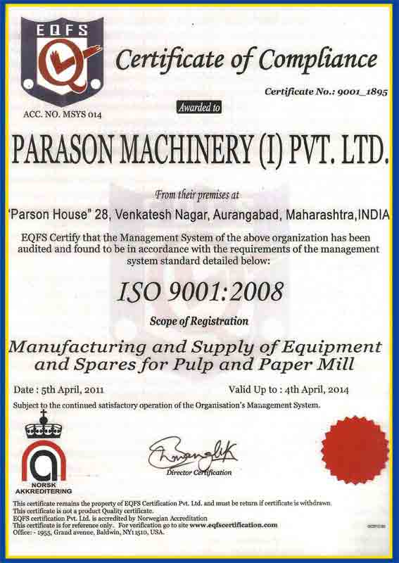 iso certificate parason machinery india