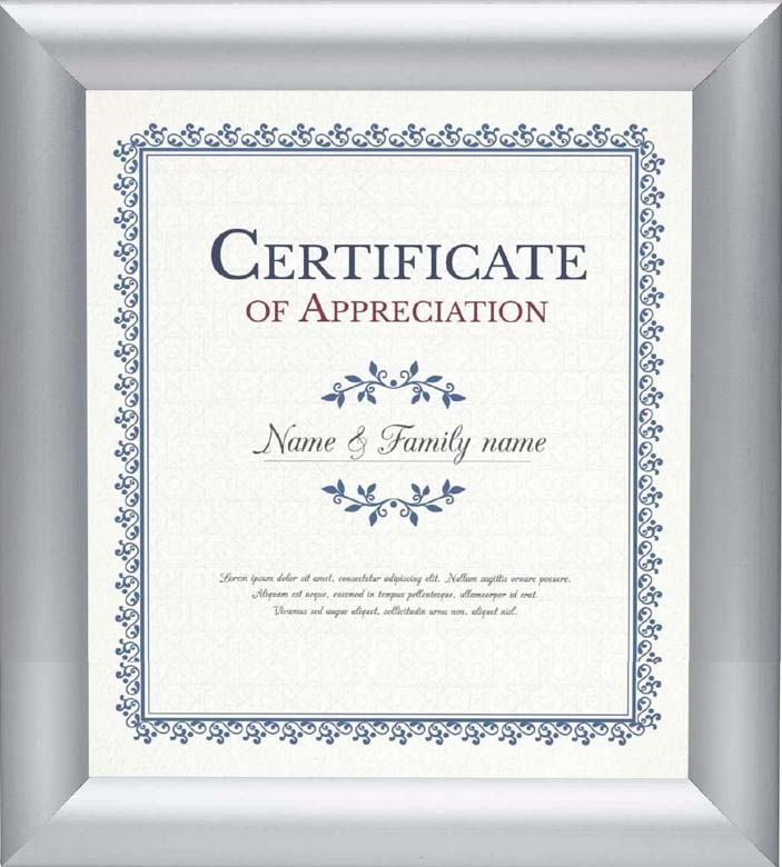 Certification of appreciation parason family