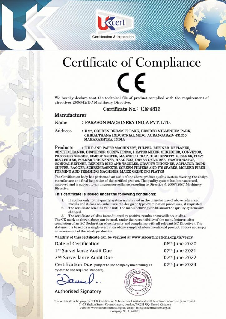 certification of compliance to parason