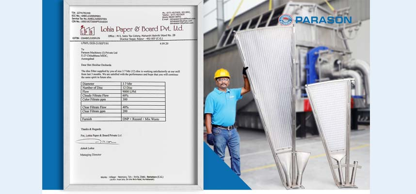 Parason Disc Filter to Lohia Paper Mill